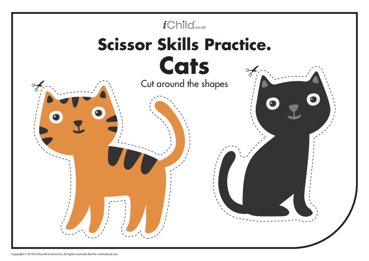 Scissor Skills Practice: Cats