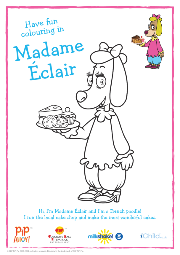 Madame Éclair Colouring In Picture (Pip Ahoy!)