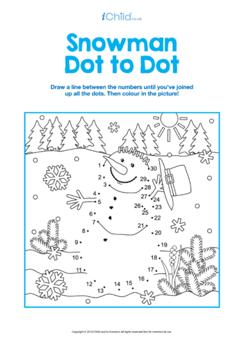 Thumbnail image for the Dot to Dot Snowman Picture activity.