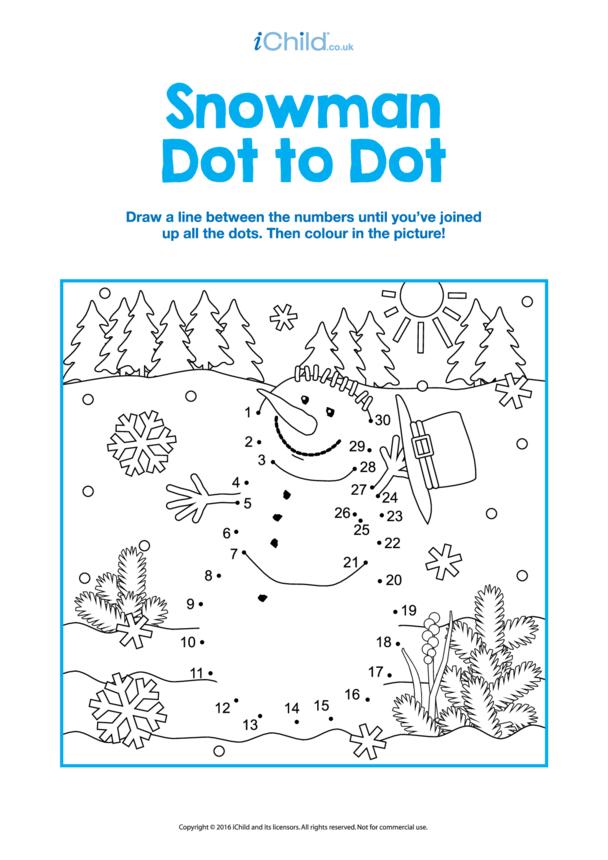 Dot to Dot Snowman Picture