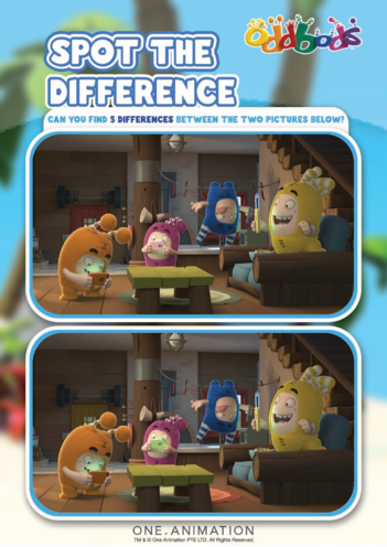 Thumbnail image for the Spot the Difference 2 Oddbods activity.
