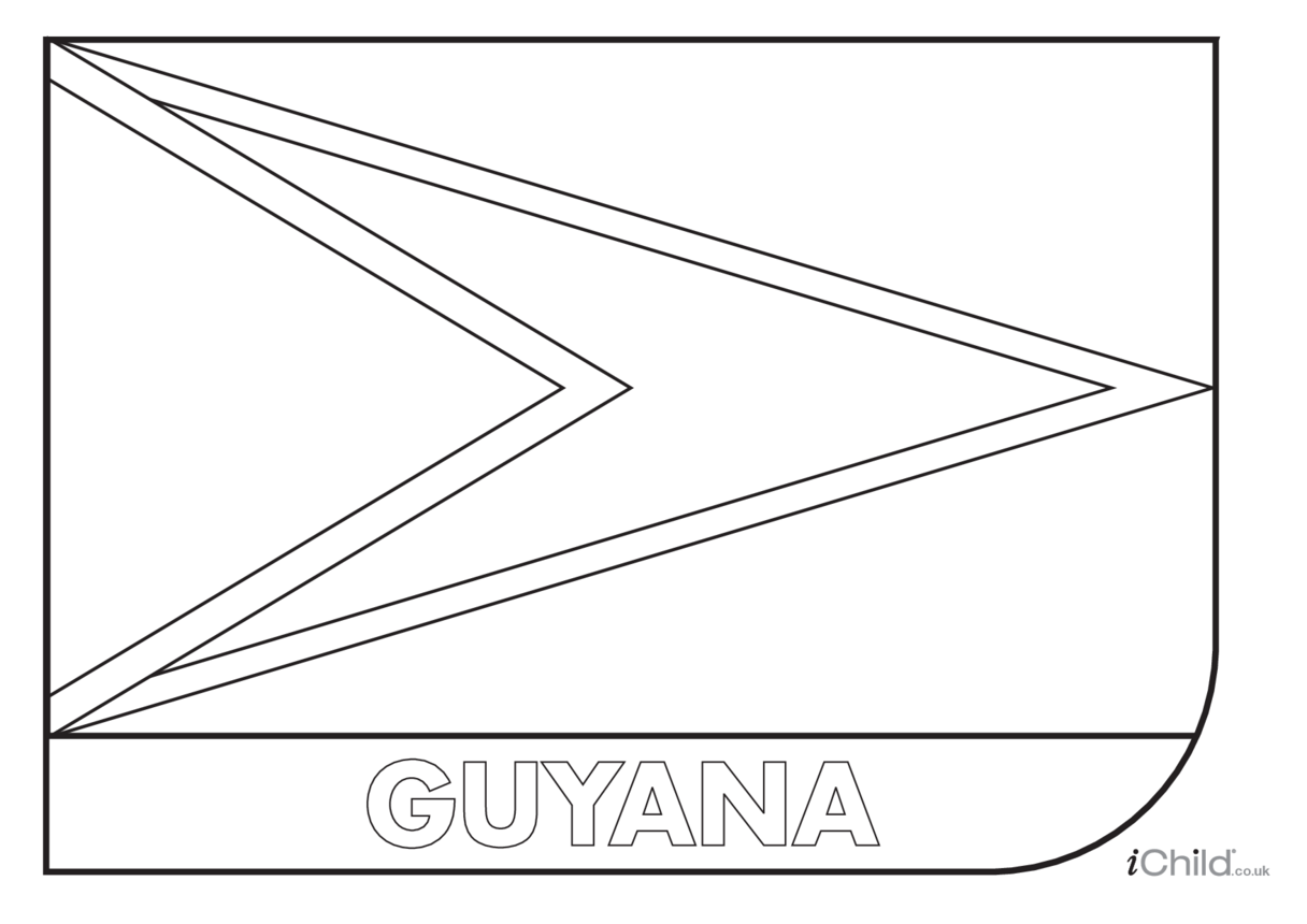 Guyana Flag Colouring in Picture (flag of Guyana)