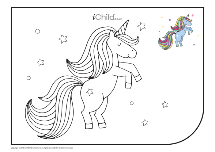 Thumbnail image for the Rearing Unicorn Colouring in Picture activity.