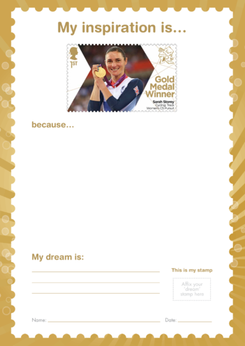 Thumbnail image for the My Inspiration Is- Sarah Storey- Gold Medal Winner Stamp Template activity.