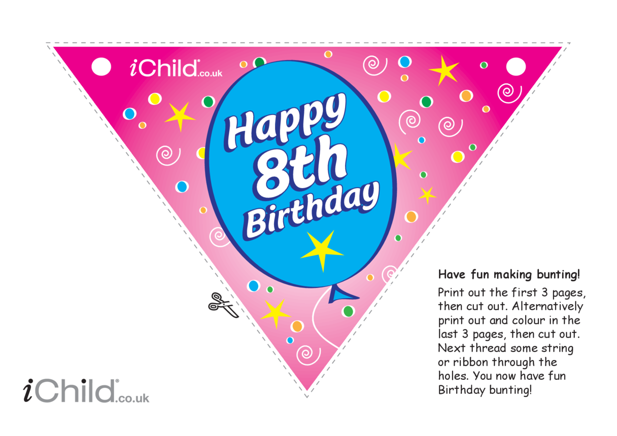 Birthday Party Bunting for 8 year old 8th birthday