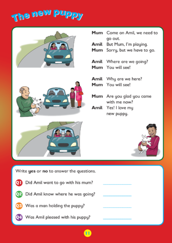 Thumbnail image for the Collins Easy Learning KS1 English Comprehension, The New Puppy activity.
