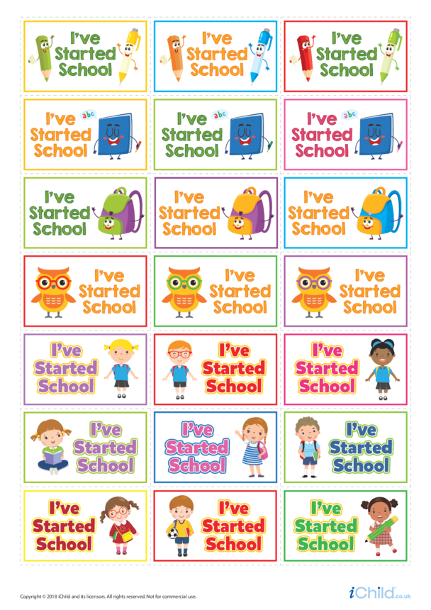 I've Started School! Large Sticker Sheet