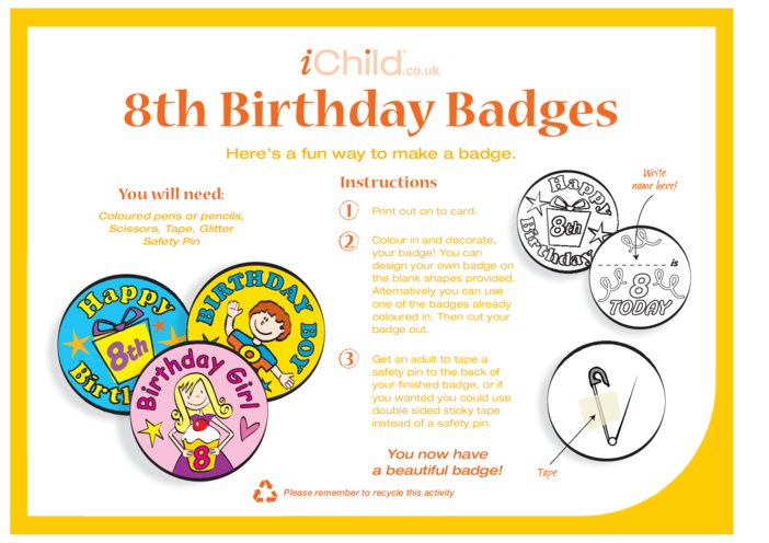 Thumbnail image for the Birthday Badges designs template for 8 year old 8th birthday activity.