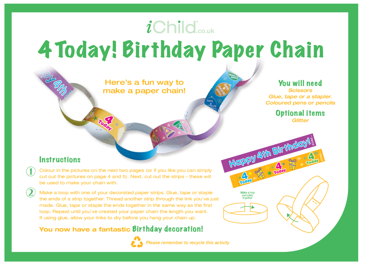 Birthday Party Decoration Paper Chain for 4 year old 4th birthday