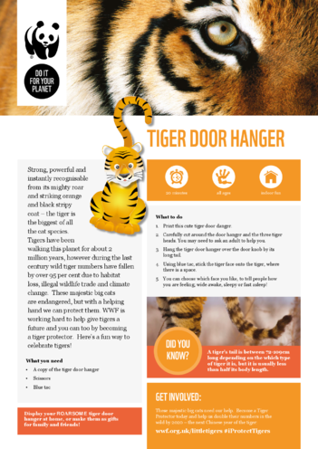 Thumbnail image for the WWF Tiger Door Hanger activity.