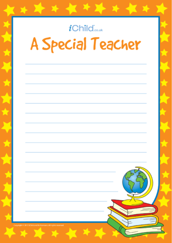 Thumbnail image for the A Special Teacher - Lined Writing Paper Template activity.