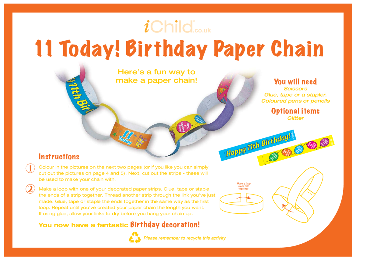 Birthday Party Decoration Paper Chain for an 11 year old's 11th birthday