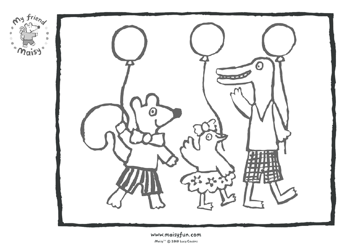 Thumbnail image for the Maisy Party Kit: Colouring in Picture, Maisy's Friends activity.