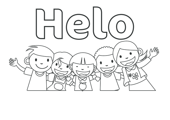 Thumbnail image for the Hello in Welsh (black & white) - Signs & Posters activity.