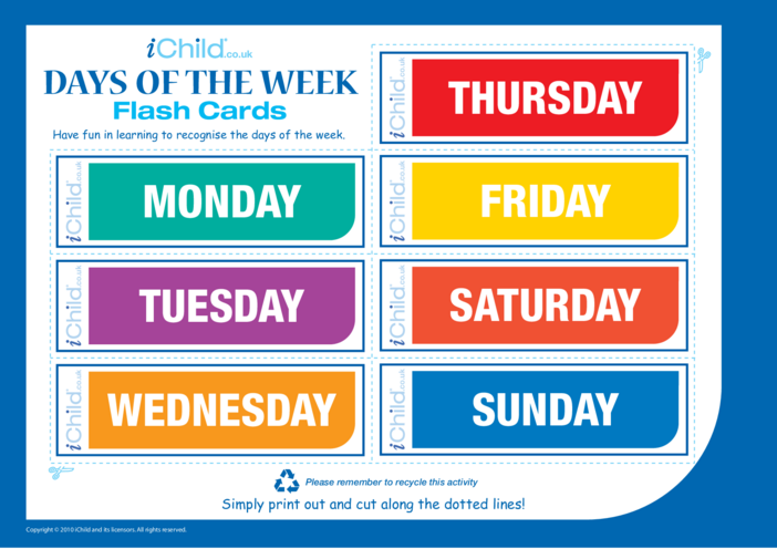 Thumbnail image for the Days of the Week Flash Cards activity.