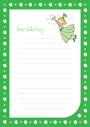 Thumbnail image for the Tooth Fairy Writing Paper Template (Green) activity.