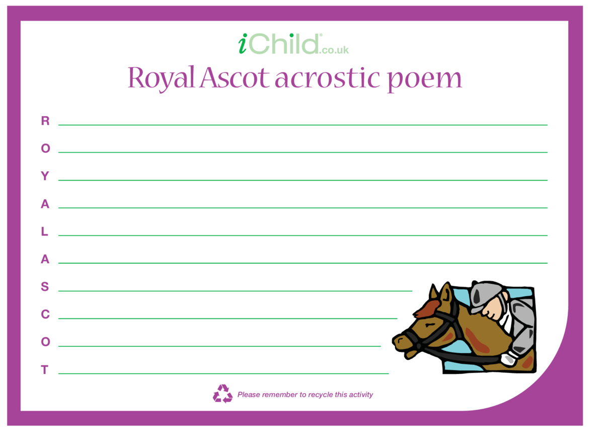 Royal Ascot Acrostic Poem Template