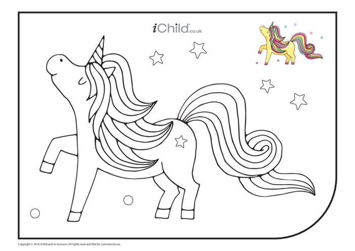 Thumbnail image for the Unicorn Colouring in Picture (Gold) activity.