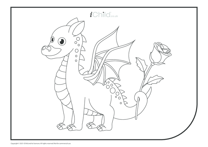 Thumbnail image for the Cute Dragon Colouring in Picture activity.
