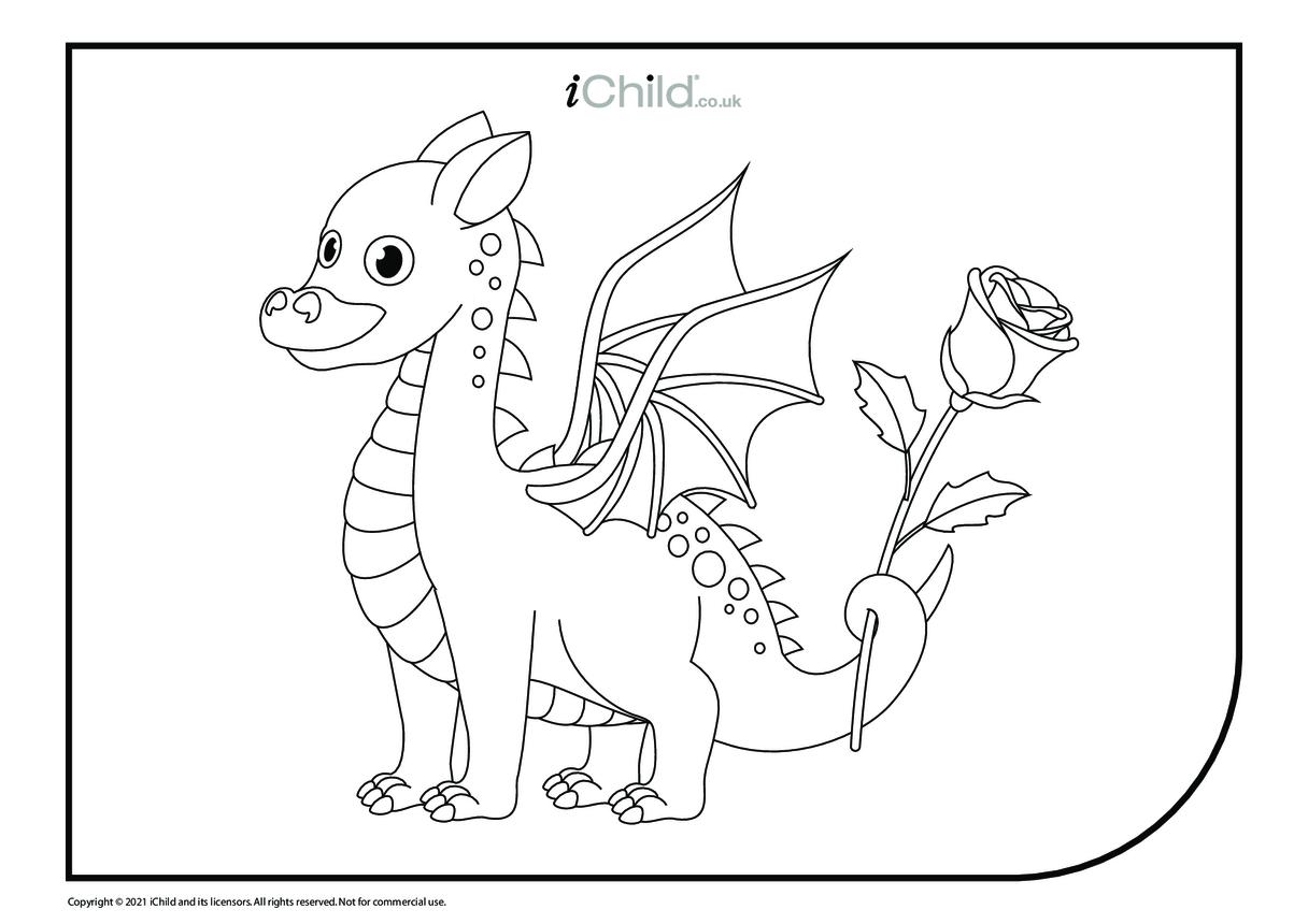 Cute Dragon Colouring in Picture