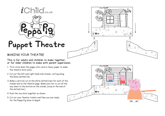 Thumbnail image for the Finger Puppet Theatre: Peppa Pig- Black & White activity.