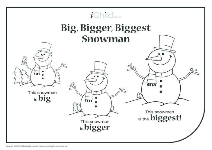 Thumbnail image for the Big, Bigger, Biggest Snowman activity.