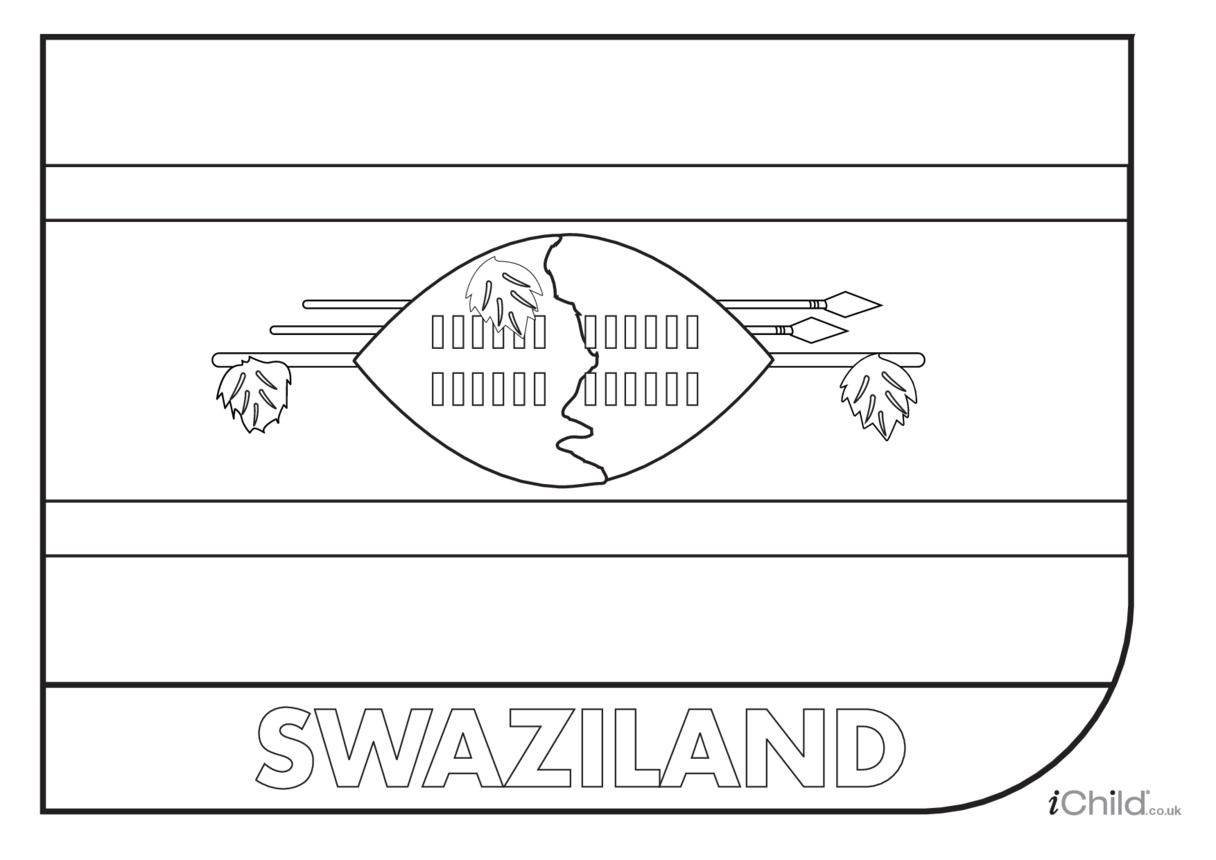 Swaziland Flag Colouring in Picture (flag of Swaziland)