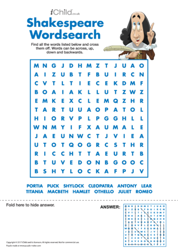 Thumbnail image for the Shakespeare Wordsearch (Character names) activity.