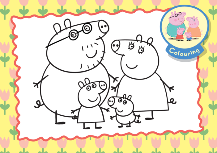 Thumbnail image for the Peppa Pig Family Colouring in picture activity.