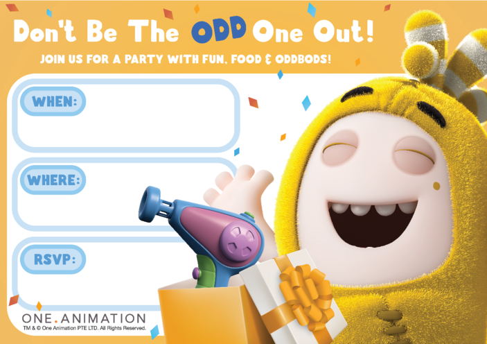 Thumbnail image for the Party Invites Bubbles Oddbods activity.