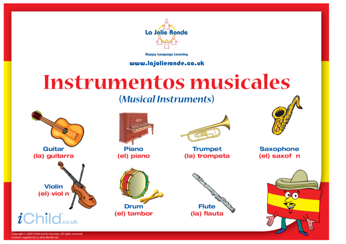 Thumbnail image for the Musical Instruments in Spanish activity.