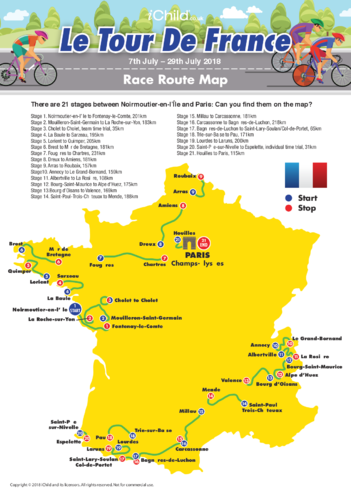 Thumbnail image for the Tour de France Map 2018 activity.