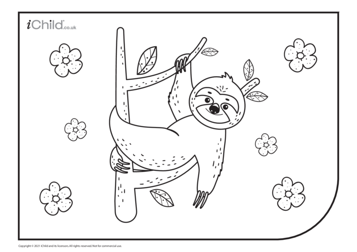 Thumbnail image for the Sloth Colouring in Picture activity.