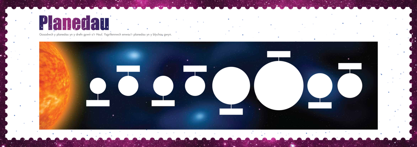 Thumbnail image for the Welsh Language, Primary 4) Out Into Space Planetline A3 activity.