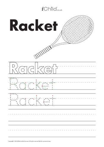 Thumbnail image for the Racket Handwriting Practice Sheet activity.