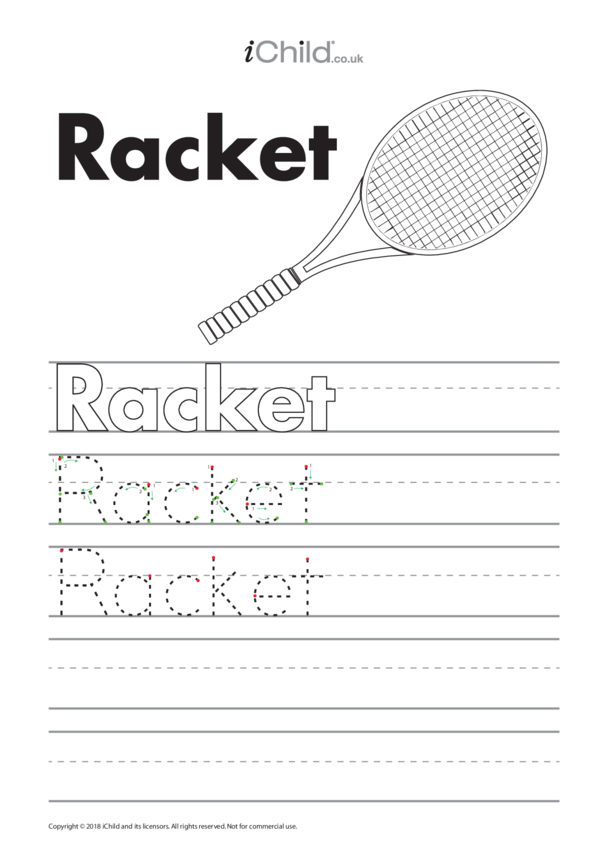 Racket Handwriting Practice Sheet