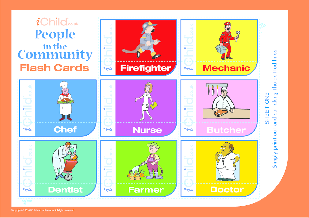 People in the Community Flash Cards