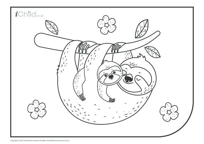 Thumbnail image for the Sloth Mother & Baby Colouring in Picture activity.