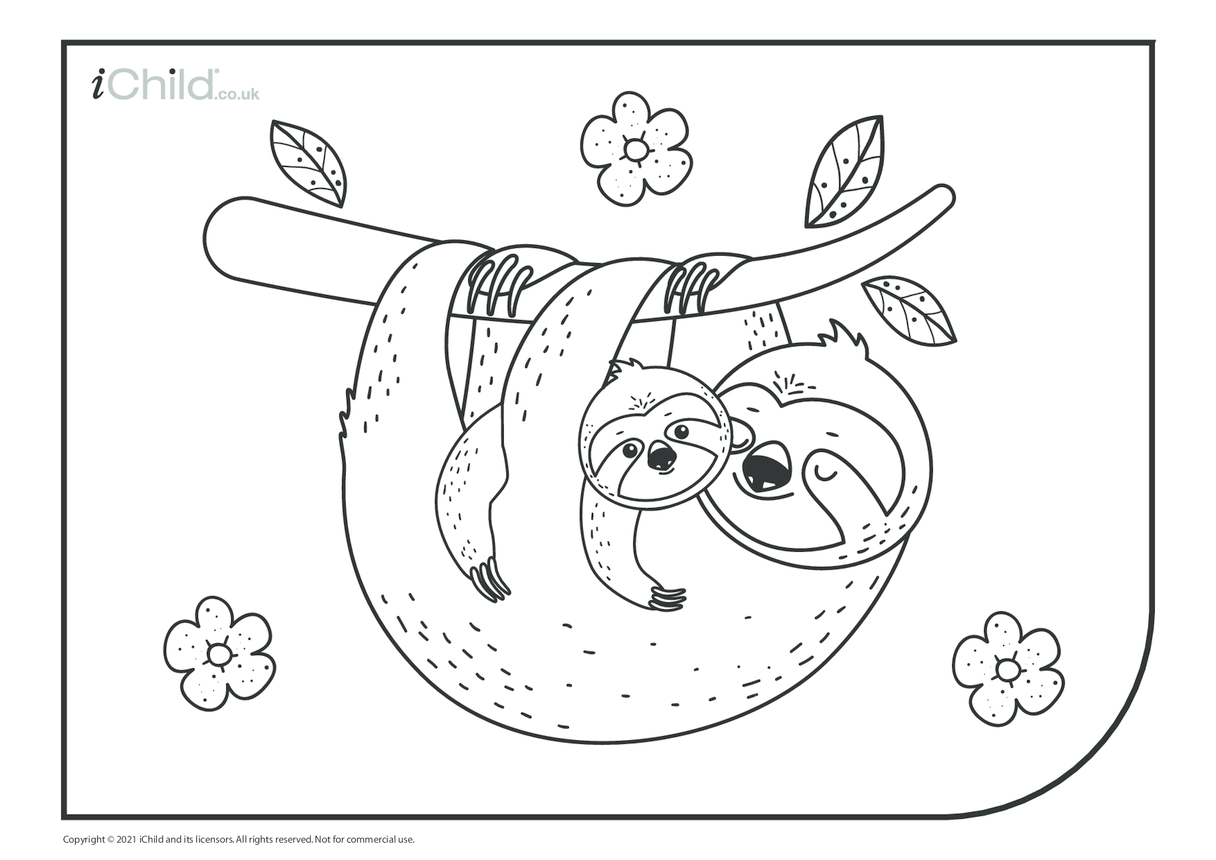 Sloth Mother & Baby Colouring in Picture