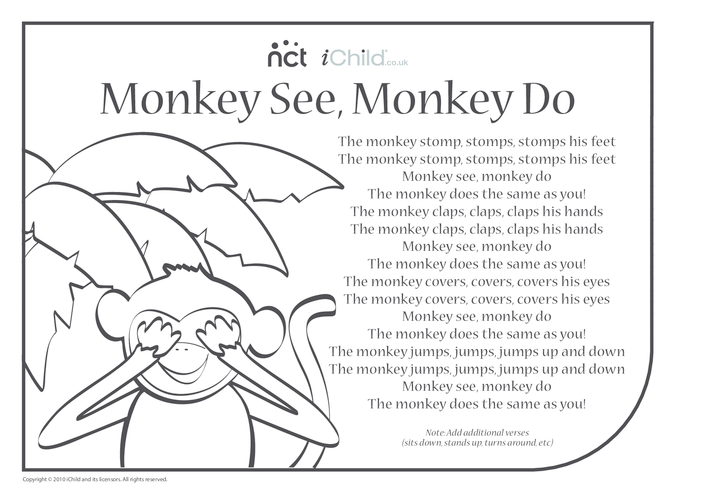 Thumbnail image for the Cheeky Monkey Song Sheet 4 activity.