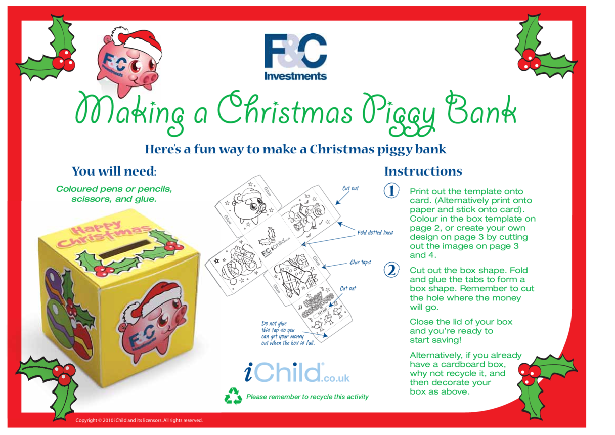 Make a Christmas Piggy Bank Money Box