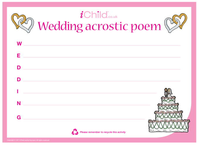 Thumbnail image for the Wedding Acrostic Poem activity.