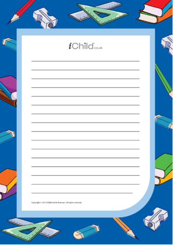 Thumbnail image for the Back to School Lined Writing Paper Template activity.