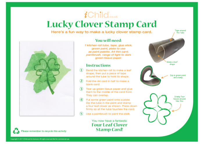 Thumbnail image for the Lucky Clover Stamp Card activity.