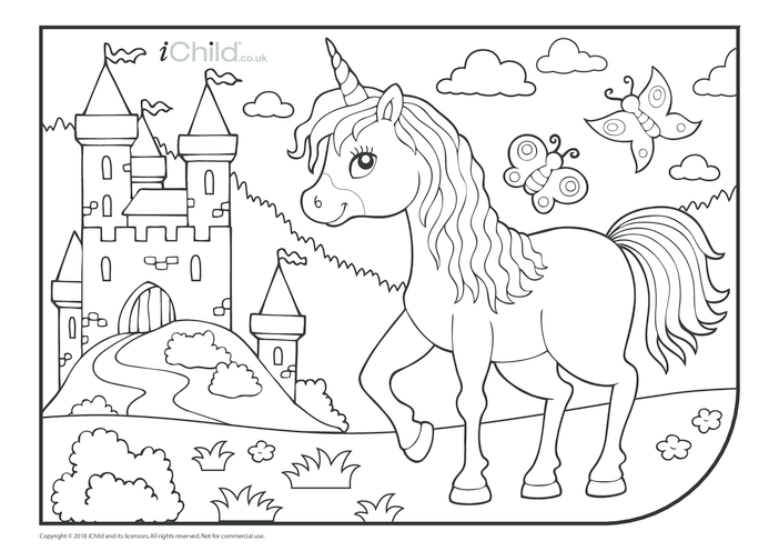 Thumbnail image for the Unicorn & Castle Colouring in Picture activity.