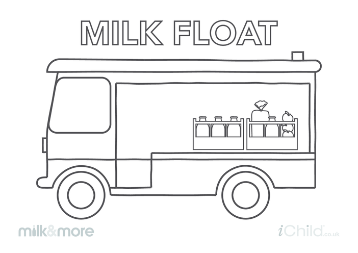 Thumbnail image for the Milk Float (with groceries) Colouring in Picture activity.