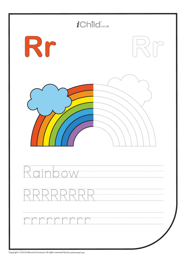 R: Write the Letter R for Rainbow