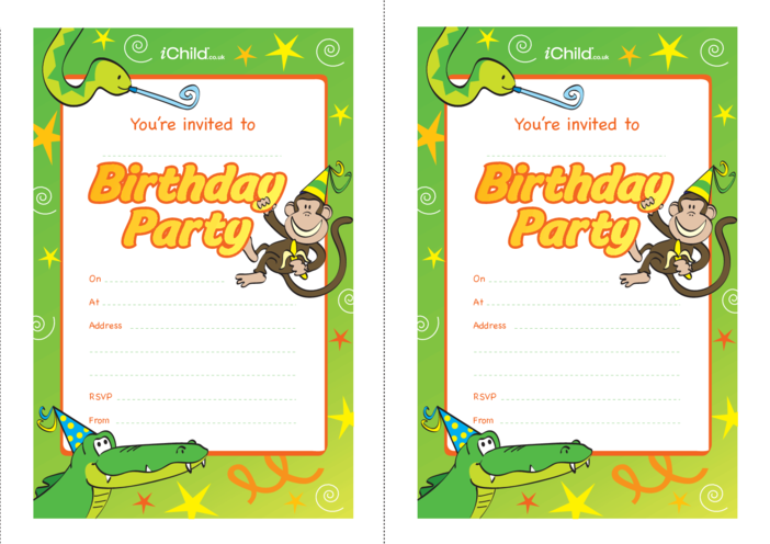 Thumbnail image for the Birthday Party Invitation templates - Jungle activity.