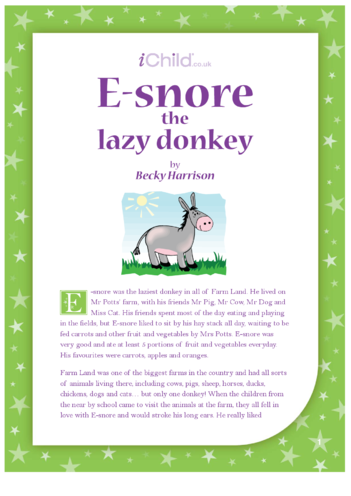 Thumbnail image for the E-snore the Lazy Donkey activity.