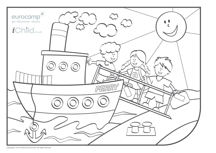 Thumbnail image for the Ferry Colouring in picture activity.